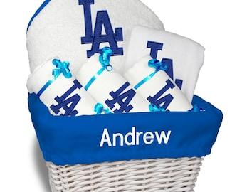 La dodgers baby bib etsy personalized los angeles dodgers baby gift basket bib 3 burp cloths towel set negle Image collections