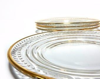 Gold Rimmed Etched Dessert/Salad Plates, Set of 4
