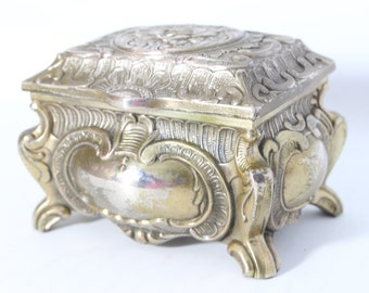Vintage Metal Casket Ornate Rose Jewelry Box ( Japan )