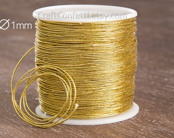 Gold string 1mm Gold metallic cord Yellow craft cord Golden thin cord Metallic woven braid cord Sew supplies Wrapping supplies / 10 meters