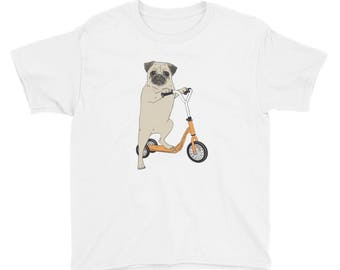 Pug on a Scooter T-Shirt (Kids)