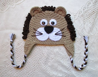 READY TO SHIP - 3 to 5 Year Size - Jungle Lion Crochet Hat - Winter Hat or Photo Prop