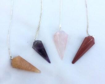Pendulum Crystal Rose quartz , Amethyst , Yellow aventurine & Red jasper  Dowsing pendulums Handmade spiritual pendulums Divination too