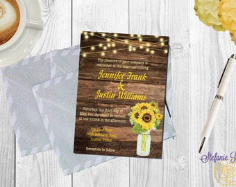 Rustic Sunflower and Wood Wedding Invitation • Digital