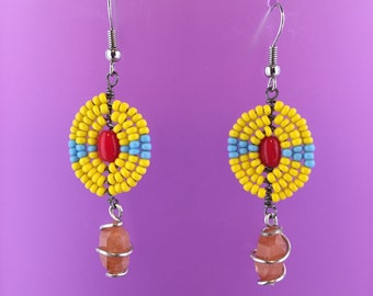 New Mexico Native American Beaded Cultural Pecos Diamonds Quartz Crystals Yellow Earrings
