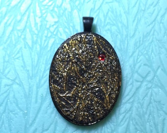 30 x 40 mm Gold Vein Red Jewel Pendant , polymer clay