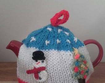 Knitted tea cosy , christmas tea cosy, one pot  tea cosy , one cup tea cosy. Ready to ship
