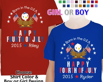 Happy Fourth of July - Born in the USA - T-Shirt - Girls - Boys - Youth - Personalized with Name and Year