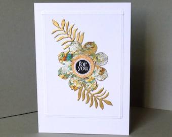 just for you card, handmade card, blank card, flower card, gold card, anniversary card, birthday card