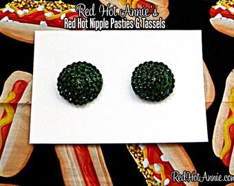 Emerald Rhinestone Burlesque Pasties (Green)