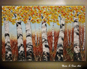 BIRCH Forest Painting, Impasto Birch Tree, Aspen Tree Painting, Large Textured Artwork, Palette Knife Art, Wall Art Decoration  by Nata S