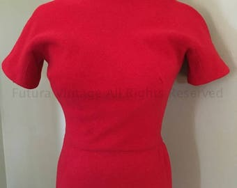 "1950s True Vintage Knock Out Lipstick Red Form Fitting Curve Hugging Wiggle Dress- 32""  33"" Bust"