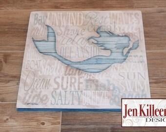 Mermaid Sign/ Nautical Decor / Coastal Wood Sign / Beach Themed Gift