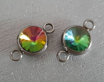 2 glass set, 18mm, glass connector and silver connectors