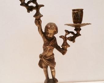 Charming Vintage Brass French Two Arm Cherub Candlestick / Chamberstick