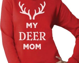 My Deer Mom Reindeer Antlers Christmas Women Sweatshirt