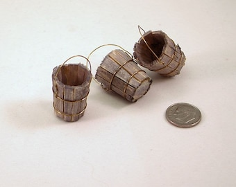 Old-fashioned wooden bucket or pail, wire handle, aged wood, staves bound with wire.1 to 16 dollhouse scale miniature. Handmade USA.