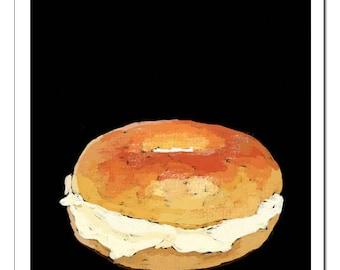 Bagel and Cream Cheese-Pop Art Print