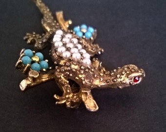 Stunning Vintage Salamander with Turquoise and Pearls
