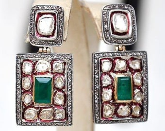 Handmade 14kt Gold & Silver Victorian vintage emerald diamond earrings