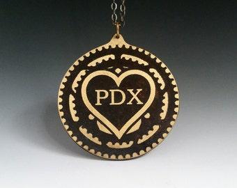 Pdx, chain ring pendant, pdx love, portlandia, bicycle jewelry, bike jewelry, portland jewelry, chain ring necklace, I heart portland, heart