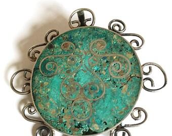 Vintage .925 Sterling Silver Green Stone Brooch