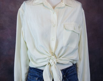 1980s Cream Silk Blouse