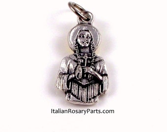St Kateri Lily of The Mohawks Bust Bracelet Charm Religious Medal | Italian Rosary Parts