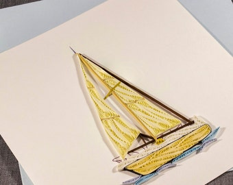 3D Blank Quilled Card Happy Birthday Boat Quilling Card