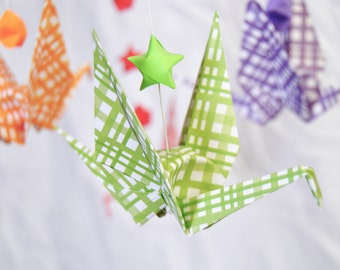 READY TO SHIP - Origami Crane Hanging Mobile - Rainbow Theme - Stars and Cranes  - Home Decor - Kids Room Decor