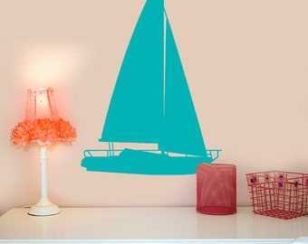 "Large Sailboat Vinyl Decal Nautical Decor Wall Decals, Choose your Color, 24"" X 36"", Big Wall Decor, Sailing Gift, Lake house decorations"