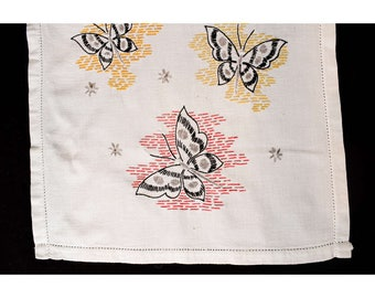 1950s Table Runner - Butterflies Novelty Embroidery - Starbursts & Butterfly Motif - White Gold Red - 50s Embroidered Dresser Runner - 49851