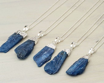 Kyanite Necklace Blue Pendant Raw stone Gift for her Crystal Necklace silver  Gold Raw Kyanite Gift women Gold Dipped Sterling silver
