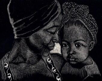 Ethnic Art Prints, Mothers Day,  Scraperboard etching print, Gift, Art Prints,