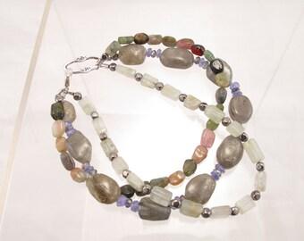 Bracelet- labradorite-tourmaline-tanzanite-aquamarine- three strand-sundance style-fashion foward jewelry-dainty-delicate-feminine