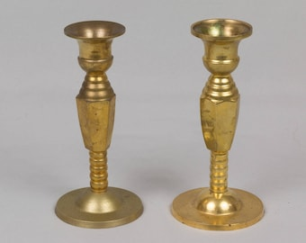 Two Brass Candle Sticks Round base, Nice weight, Brass candle holders, Lathe turned candle sticks Yellow brass