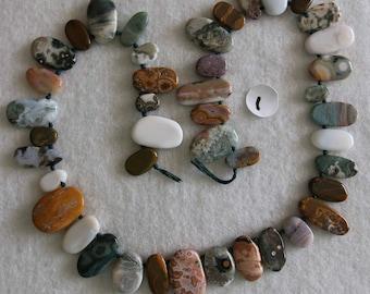 Jasper, Ocean Jasper, Ocean Jasper Drops, Graduated Drops, Natural Stone, Semi Precious, Full Strand, 9-20 mm, AdrianasBeads