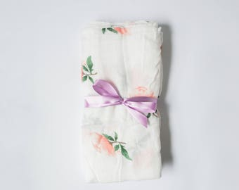 Georgia Peach Rose Swaddle Blanket, Floral Swaddle, Muslin Swaddle, Cotton Bamboo Swaddle, Baby Shower Gift, Peach Swaddle Blanket