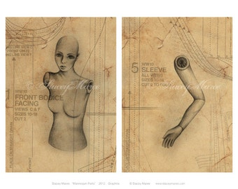 "Art Print ""Mannequin Parts"" - Illustration by Stacey Maree"