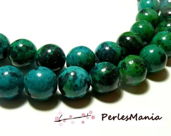 10 colored Chrysocolla round beads 10 mm H1194 for jewelry making