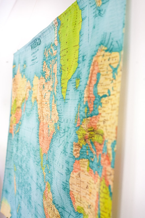 Vintage world map world map wall hanging vintage school vintage world map world map wall hanging vintage school chart linen cotton 57 inches 145cm long x 36inches92cm wedding gift gumiabroncs Images