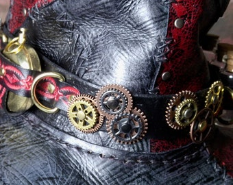 steampunk hatband -- Diesel Punk Burning Man Cosplay Steam Punk-- Leather hat band -- Tophat -- Made in the USA
