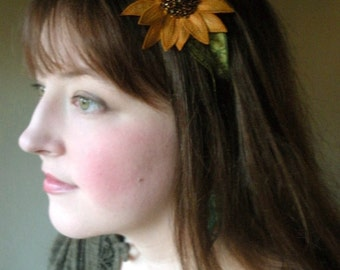 Sunflower Headband- Sunglow Yellow with Dark Brown Beaded Center- An Embroidered and Beaded Silk Flower Headband
