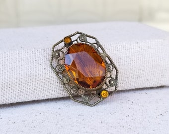 ca. 1918 Edwardian Brooch with Citrine Colored Paste