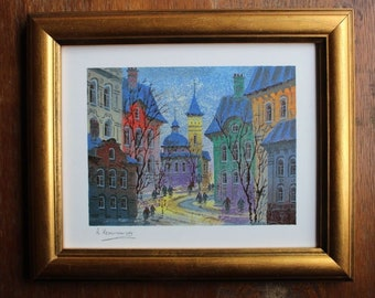 Vintage ANATOLE KRASNYANSKY Serigraph Print - Prague - Icy Reflection - With COA