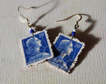 Republique Francaise - Vintage French Postage Stamp Earrings