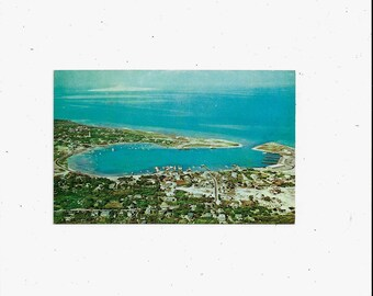 1950s, 1960s Postcard of Ocracoke Island Village & Harbor, North Carolina, Outer Banks, Aerial View, Unposted, Travel Souvenir Ephemera