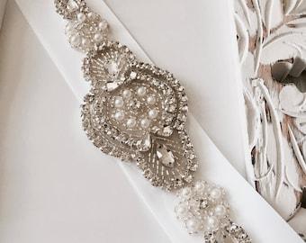 White Bridal Sash, White Wedding Sash, White Sash Belt, White Bridesmaid Sash, Pearl Crystal Rhinestone Bridal Sash, Bridal Accessories