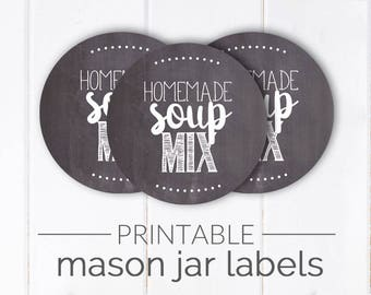 Homemade Soup Mix Printable Mason Jar Label | Chalkboard