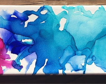 "Water Play- 12x4"" alcohol ink on canvas"